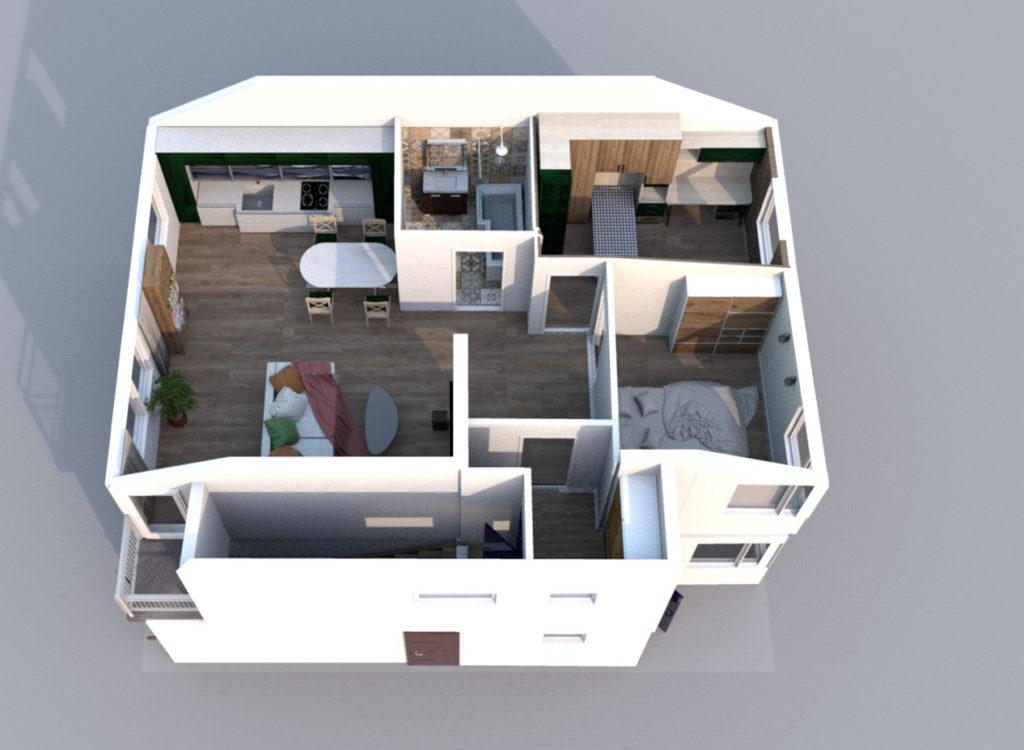 Mieszkanie Legnica ul. Podoby, góne lewe rzut 3D