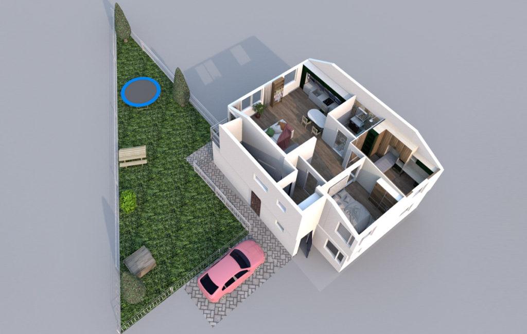 Mieszkanie Legnica ul. Podoby, górne lewe - rzut 3D z ogrodem