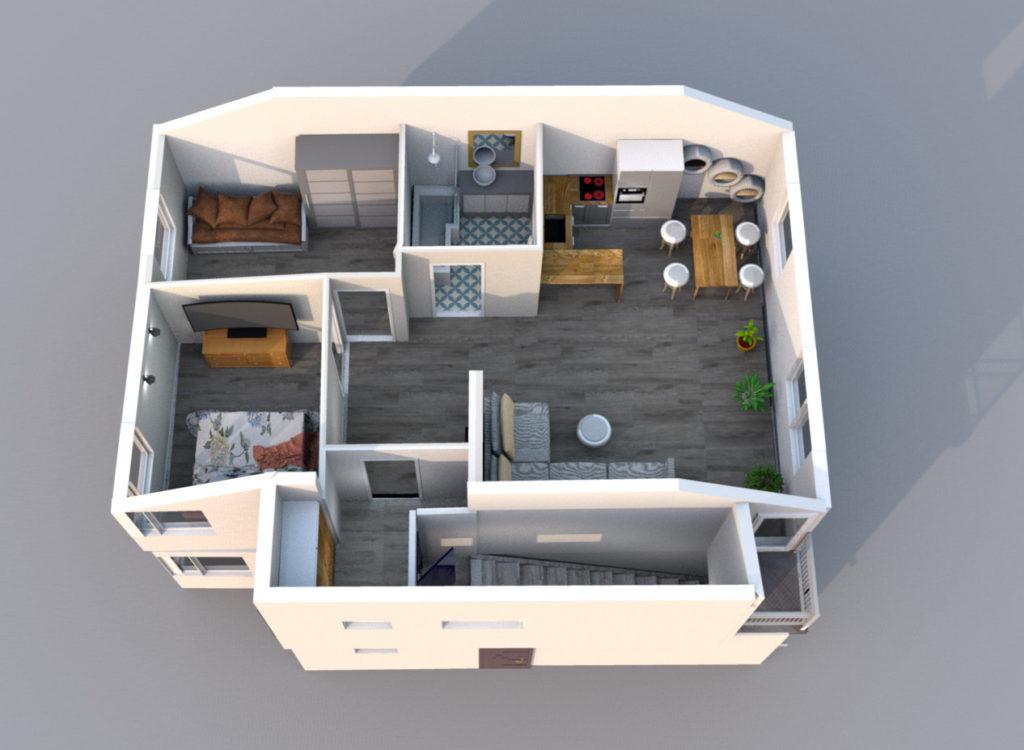 Mieszkanie Legnica ul. Podoby, górne prawe rzut 3D