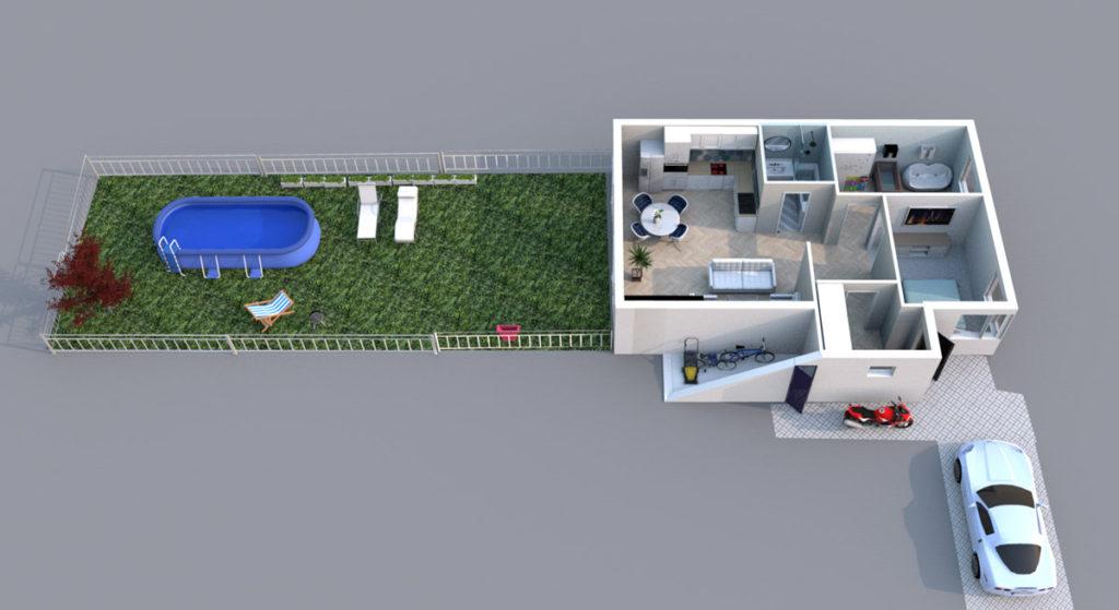 Mieszkanie Legnica ul. Podoby, dolne lewe - rzut 3D z ogrodem