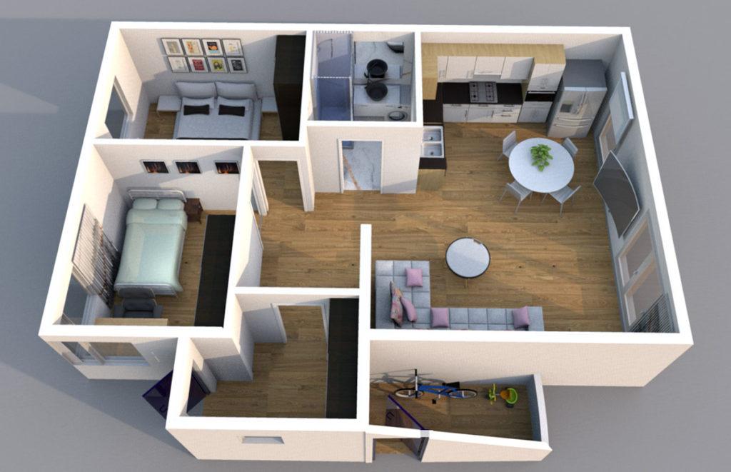 Mieszkanie Legnica ul. Podoby, dolne prawe rzut 3D